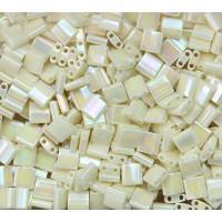 5x5mm Miyuki Tila Beads, Rainbow Eggshell, 10 Gram Bag