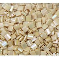 5x5mm Miyuki Tila Beads, Rainbow Beige Luster, 10 Gram Bag