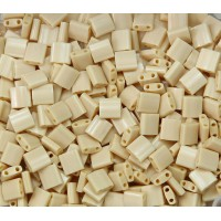5x5mm Miyuki Tila Beads, Opaque Dark Tan, 10 Gram Bag