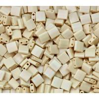 5x5mm Miyuki Tila Beads, Matte Rainbow Dark Tan, 10 Gram Bag