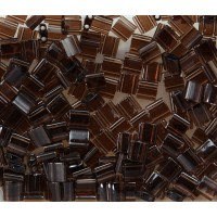 5x5mm Miyuki Tila Beads, Transparent Brown, 10 Gram Bag