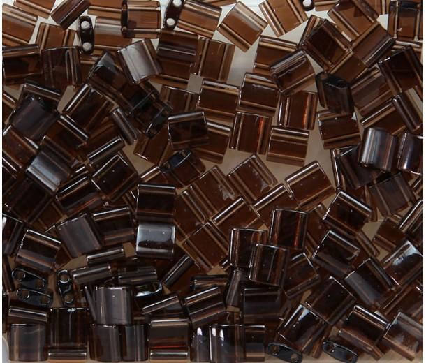 5x5mm Miyuki Tila Beads, Transparent Brown, 7.2 Gram Tube