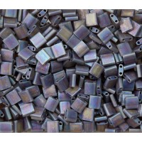 5x5mm Miyuki Tila Beads, Matte Rainbow Brown, 10 Gram Bag