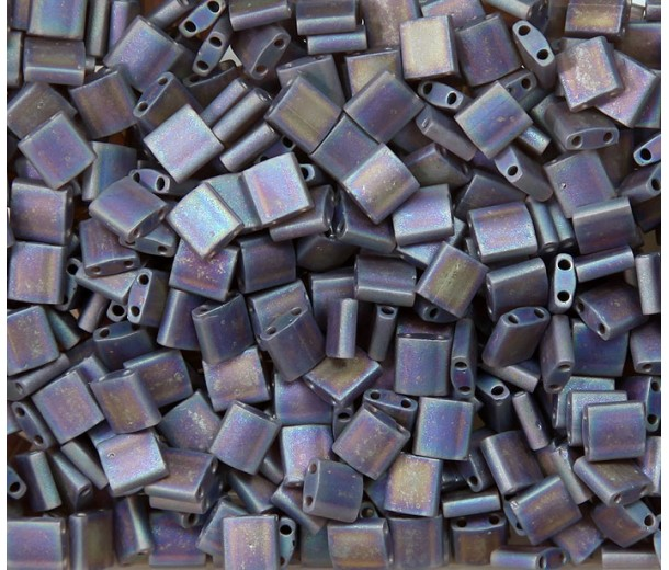 5x5mm Miyuki Tila Beads, Matte Rainbow Brown, 10 Gram Bag