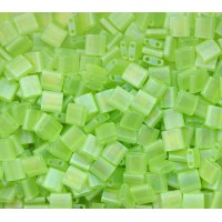 5x5mm Miyuki Tila Beads, Matte Rainbow Lime Green, 10 Gram Bag