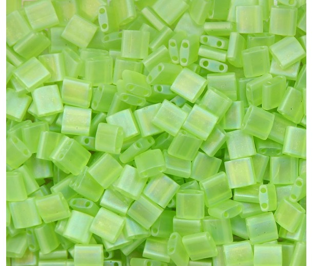 5x5mm Miyuki Tila Beads, Matte Rainbow Lime Green, 10 Gram Bag