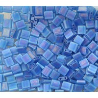 5x5mm Miyuki Tila Beads, Matte Rainbow Capri Blue, 7.2 Gram Tube