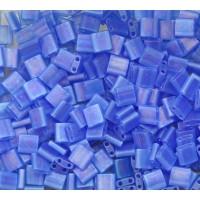 5x5mm Miyuki Tila Beads, Matte Rainbow Sapphire Blue, 7.2 Gram Tube
