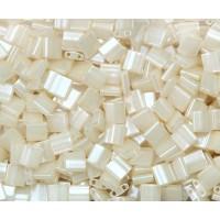 5x5mm Miyuki Tila Beads, Cream Ceylon, 10 Gram Bag