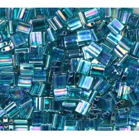 5x5mm Miyuki Tila Beads, Rainbow Dark Teal, 10 Gram Bag