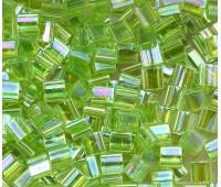5x5mm Miyuki Tila Beads, Rainbow Lime Green, 7.2 Gram Tube