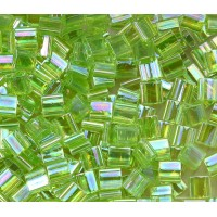 5x5mm Miyuki Tila Beads, Rainbow Lime Green, 10 Gram Bag