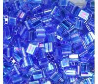 5x5mm Miyuki Tila Beads, Rainbow Sapphire Blue, 7.2 Gram Tube