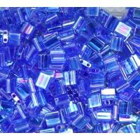 5x5mm Miyuki Tila Beads, Rainbow Sapphire Blue, 10 Gram Bag