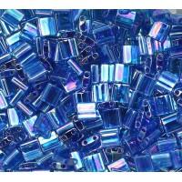 5x5mm Miyuki Tila Beads, Rainbow Denim Blue, 10 Gram Bag