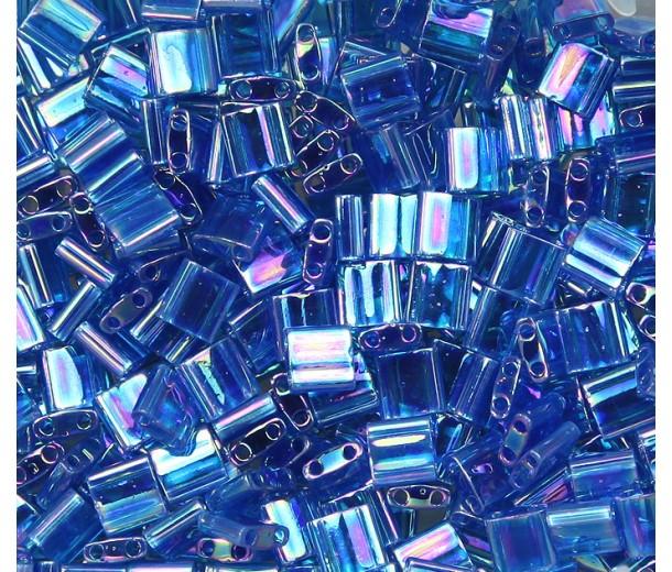 5x5mm Miyuki Tila Beads, Rainbow Denim Blue, 7.2 Gram Tube