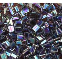 5x5mm Miyuki Tila Beads, Rainbow Dark Amethyst, 10 Gram Bag