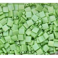 5x5mm Miyuki Tila Beads, Matte Rainbow Chartreuse, 10 Gram Bag