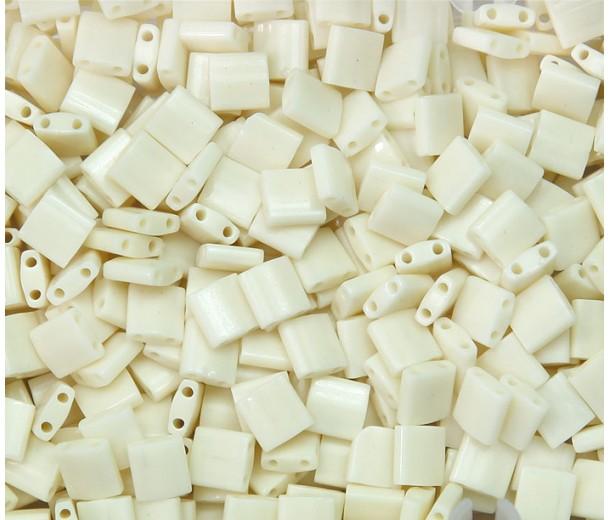 5x5mm Miyuki Tila Beads, Opaque Eggshell, 7.2 Gram Tube
