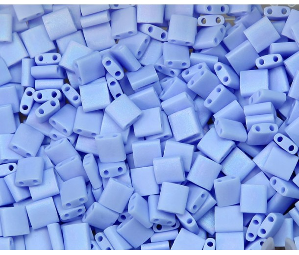 5x5mm Miyuki Tila Beads, Matte Rainbow Lt Periwinkle, 10 Gram Bag