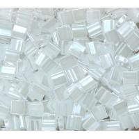 5x5mm Miyuki Tila Beads, White Ceylon, 7.2 Gram Tube
