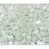 5x5mm Miyuki Tila Beads, Eggshell Ceylon, 10 Gram Bag