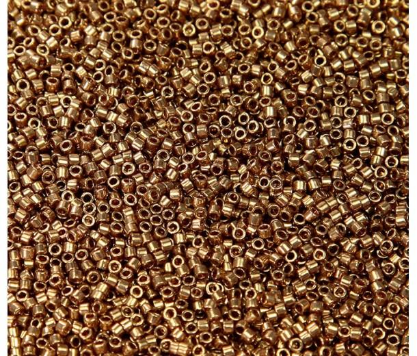 11/0 Miyuki Delica Seed Beads, Metallic Light Bronze, 7.2 Gram Tube
