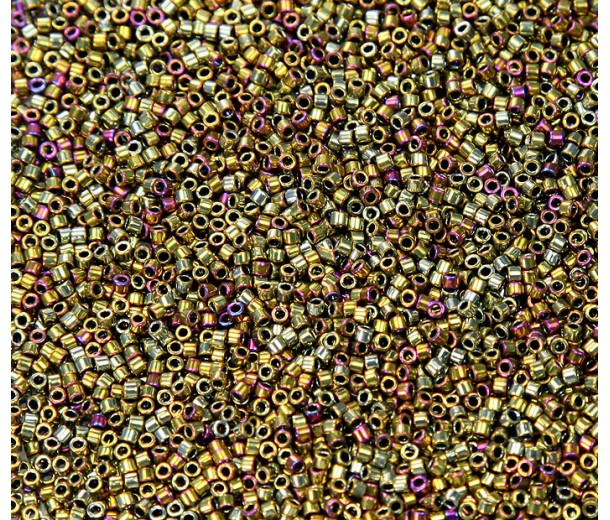 11/0 Miyuki Delica Seed Beads, Golden Nickel Plated