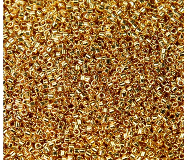 11/0 Miyuki Delica Seed Beads, 24K Gold Plated