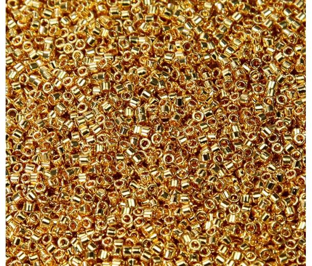 11/0 Miyuki Delica Seed Beads, 24K Gold Plated, 5 Gram Bag