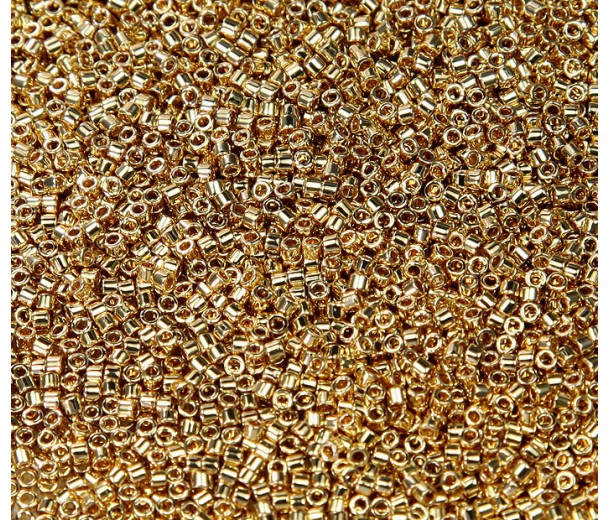11/0 Miyuki Delica Seed Beads, 24K Light Gold Plated