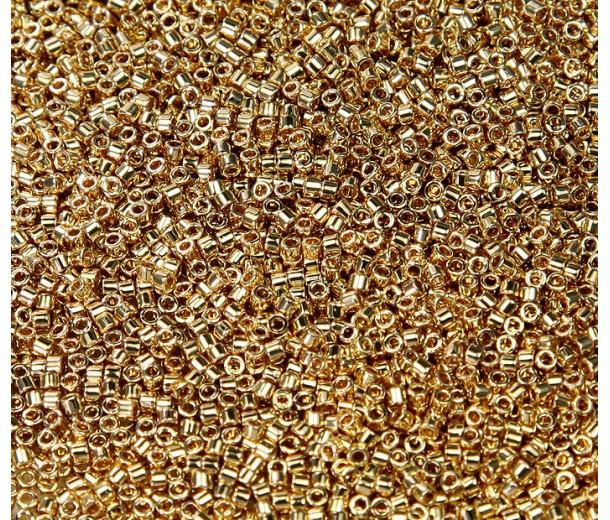 11/0 Miyuki Delica Seed Beads, 24K Light Gold Plated, 5 Gram Bag