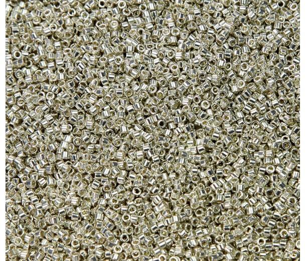 11/0 Miyuki Delica Seed Beads, Galvanized Silver