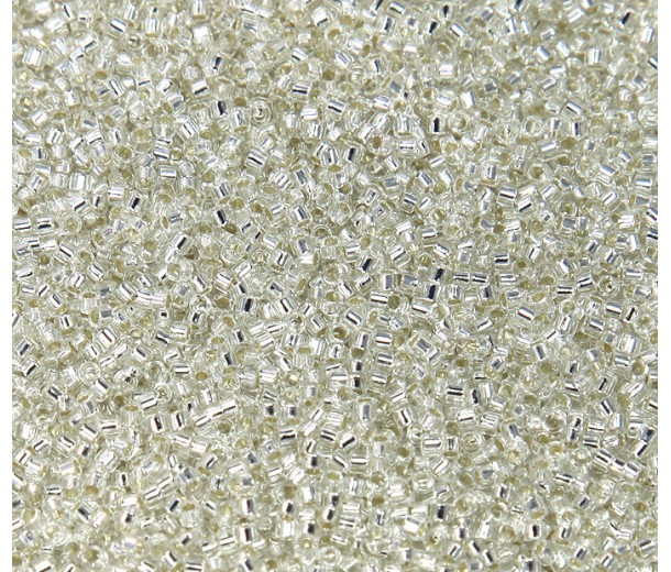 11/0 Miyuki Delica Seed Beads, Silver Lined Crystal, 7.2 Gram Tube