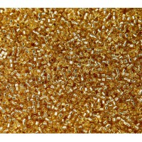 11/0 Miyuki Delica Seed Beads, Silver Lined Gold, 7.2 Gram Tube