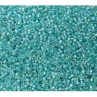 11/0 Miyuki Delica Seed Beads, Rainbow Aqua Lined Crystal, 5 Gram Bag