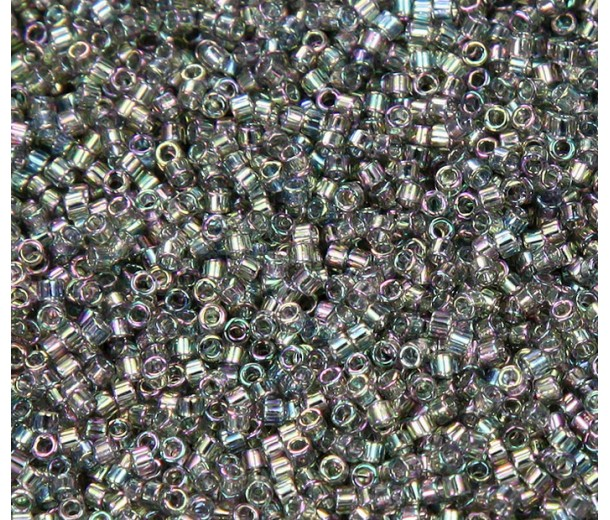 11/0 Miyuki Delica Seed Beads, Luster Rainbow Light Steel, 5 Gram Bag