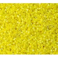 11/0 Miyuki Delica Seed Beads, Opaque Rainbow Yellow, 5 Gram Bag