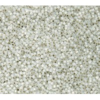 11/0 Miyuki Delica Seed Beads, Silver Lined White Opal, 7.2 Gram Tube
