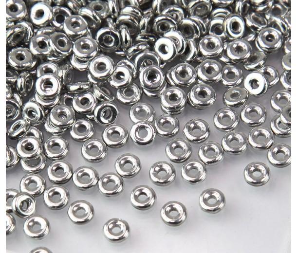 1x4mm Czech Glass O Beads, Silver Metallic, 10 Gram Bag