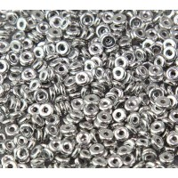 1x4mm Czech Glass O Beads, Silver Metallic, 10 Gram Bag
