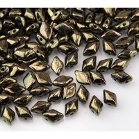 8x5mm Matubo GemDuo 2-Hole Seed Beads, Jet Bronze Picasso