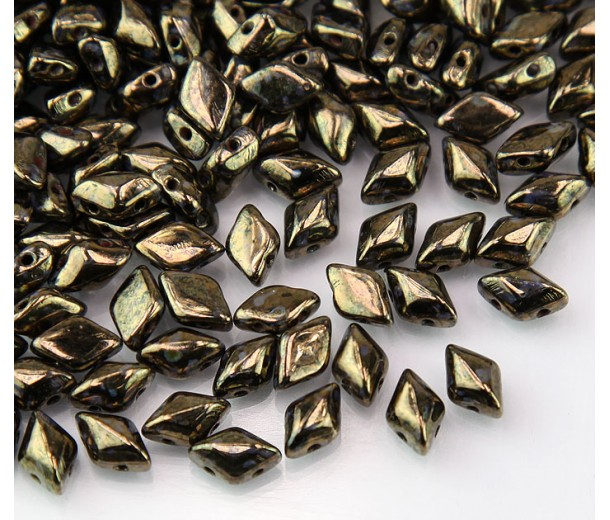 8x5mm Matubo GemDuo 2-Hole Seed Beads, Jet Bronze Picasso, 10 Gram Bag