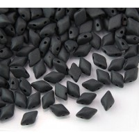 8x5mm Matubo GemDuo 2-Hole Seed Beads, Matte Jet Black, 10 Gram Bag