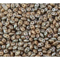 2x5mm Matubo SuperDuo 2-Hole Seed Beads, Opaque Beige Nebula, 10 Gram Bag