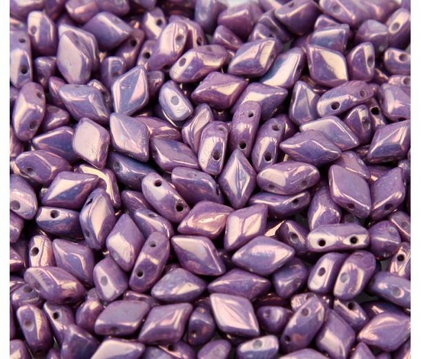 8x5mm Matubo GemDuo 2-Hole Seed Beads, Opaque Amethyst Luster, 10 Gram Bag