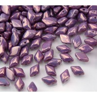 8x5mm Matubo GemDuo 2-Hole Seed Beads, Opaque Amethyst Luster
