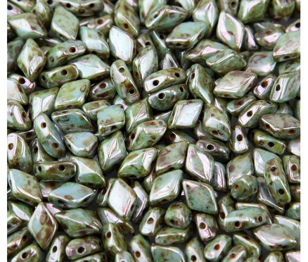 8x5mm Matubo GemDuo 2-Hole Seed Beads, Opaque Green Luster, 10 Gram Bag