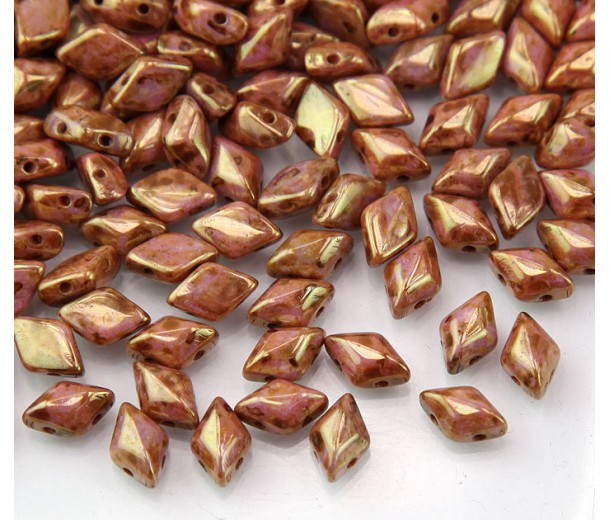 8x5mm Matubo GemDuo 2-Hole Seed Beads, Rose Gold Topaz Luster, 10 Gram Bag