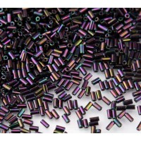 3mm Miyuki Bugle Seed Beads, Metallic Dark Plum, 10 Gram Bag